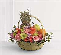 Rest in Peace Fruit & Flowers Basket by US Funeral Flowers