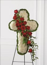 Floral Cross Easel by US Funeral Flowers