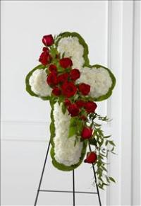 The FTD® Floral Cross Easel by US Funeral Flowers