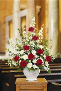 Red & White Fan Shape by US Funeral Flowers