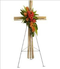 River Cane Cross by US Funeral Flowers