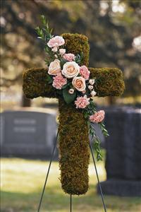 Moss Cross with Cluster by US Funeral Flowers