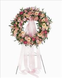 Mixed Pink Wreath by US Funeral Flowers