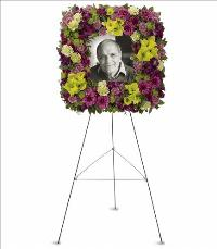 Mosaic of Memories Square Easel Wreath by US Funeral Flowers