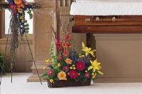 Basket with Summer Flowers by US Funeral Flowers