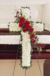 White & Red Cross by US Funeral Flowers