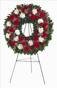 Red & White Carnation Wreath by US Funeral Flowers