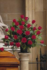 Basket with 24 Red Roses by US Funeral Flowers