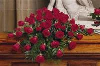 48 Red Rose Casket Spray by US Funeral Flowers