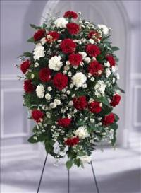 Crimson & White™ Standing Spray by US Funeral Flowers