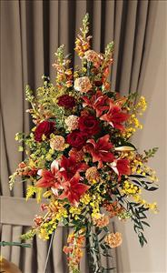 Farewell Too Soon Standing Spray by US Funeral Flowers