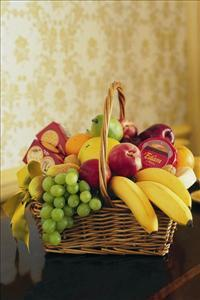 Cheese, Crackers & Fruit Basket by US Funeral Flowers