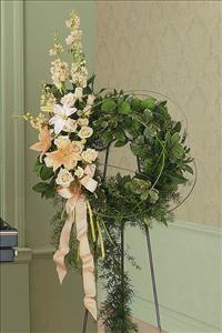 Peach Wreath by US Funeral Flowers
