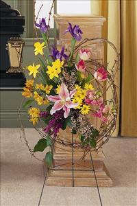 Easel Spray with Grapevine by US Funeral Flowers