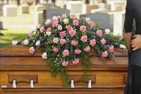 Closed Casket Pink Spray by US Funeral Flowers