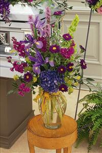 Blues & Purples in Glass Vase by US Funeral Flowers