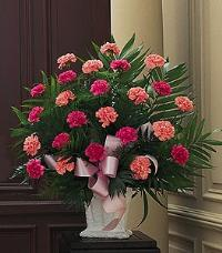 Basket with Pink Carnations by US Funeral Flowers