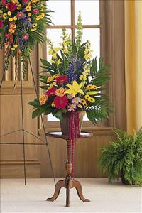 Colorful Container Arrangement by US Funeral Flowers